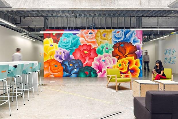 Mural de Facebook, una de las mejores oficinas para trabajar