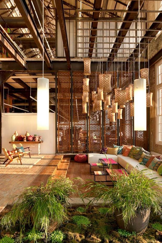 Espacios verdes en las modernas oficinas de Urban Outfiters